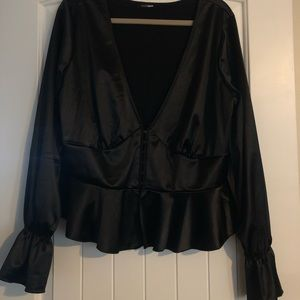 BLACK SILK LIKE BLOUSE